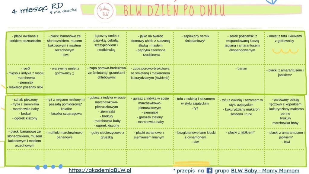rozszerzanie diety 4 msc